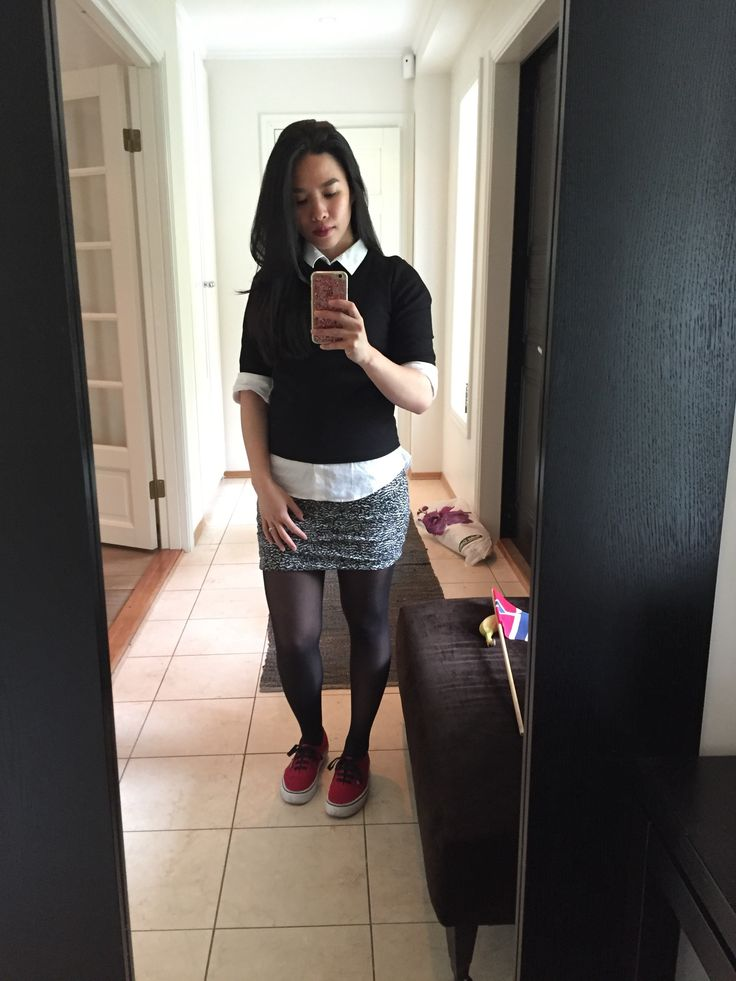 skirt and red vans sneakers
