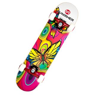 This Punisher skateboard is for the serious or beginning skateboarding enthusiast. This deck has a length of 31 inches, a width of 7.5 inches, and features high speed bearings. Deck length: 31 inches