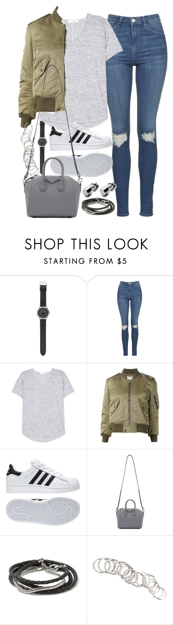 """""""Outfit for a casual day with friends"""" by ferned ❤ liked on Polyvore featuring J.Crew, Topshop, rag & bone, Yves Saint Laurent, adidas, Givenchy, Banana Republic and H&M"""