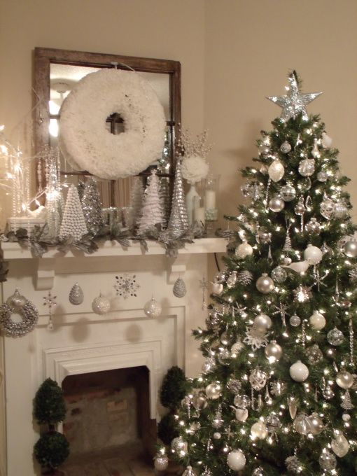 """Silver and White Christmas from DIY user """"lap1020"""" >> http://diy.roomzaar.com/rate-my-space/Holidays/Christmas-Decor-2012/detail.esi?oid=29903176=pinterest"""
