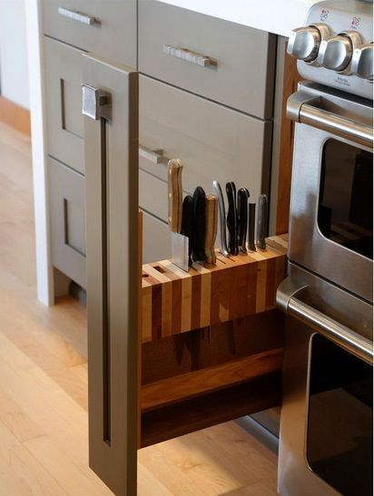 15 Little Clever ideas to improve your kitchen 14 don't want the knife drawer at floor level, but i do love the idea!!