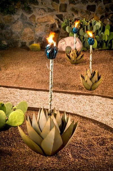 Small Blue Agave torch with removable flower stem.