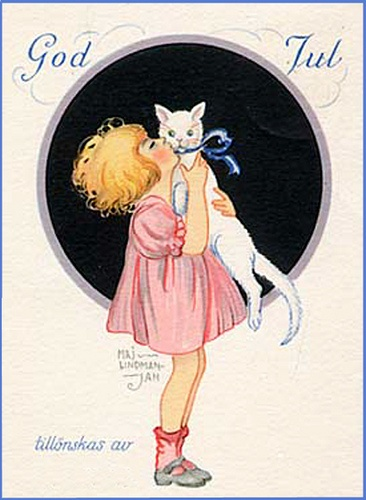 Merry Christmas in Swedish. Maj Lindman Hulten, Sweden (1886-1972) - girl white cat