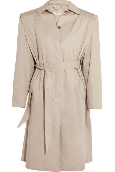 米色纯棉斜纹布   正面配有单排隐形纽扣   100% 纯棉;衬里材质:100% 铜氨   干洗   意大利制造