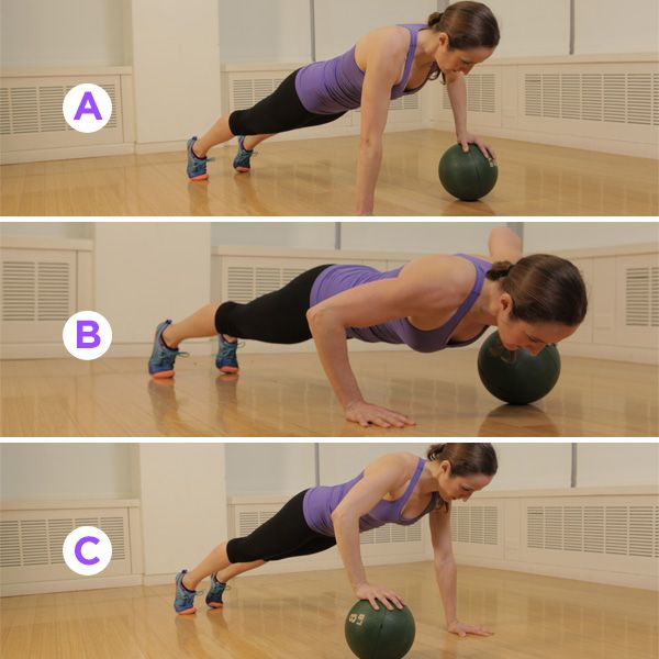 Challenge your core and sculpt a sexy upper body with this medicine ball move! Get exercise directions PLUS four more ways to use a medicine ball HERE: http://www.womenshealthmag.com/fitness/medicine-ball-exercises?cm_mmc=Pinterest-_-womenshealth-_-content-fitness-_-totalbodymedicineballworkout