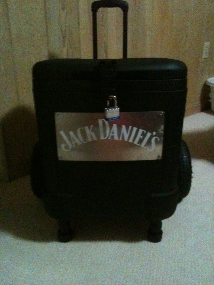 Custom Ice Chest. Frat boy friend created this wonder using truck bed liner spray paint. Front View