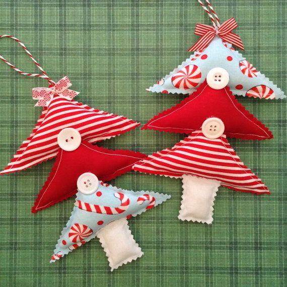 Decorazioni per l'albero di Natale / Xmas tessuto ornamenti /