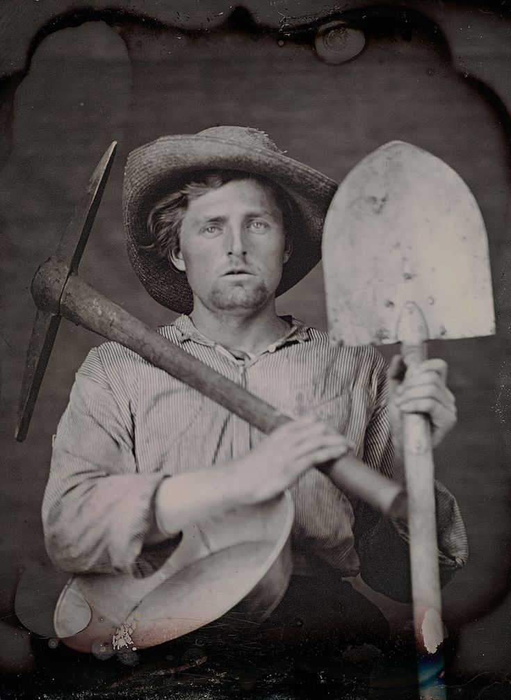 C. 1851 portrait of an unidentified man dressed as miner with tools by an unknown photographer (collection of the Canadian Photography Institute. NGC, Ottawa)