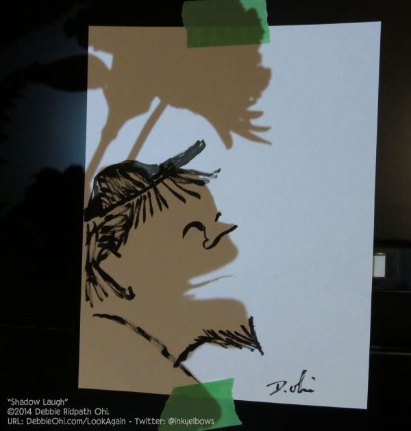 Shadow Laughing doodle, plus setup video/photos of my process - Debbie Ridpath Ohi - Debbie Ridpath Ohi (Twitter: @inkyelbows)