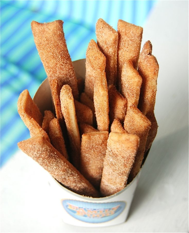Pie fries - brush pie crust with melted butter and then top with cinnamon sugar. Cut into strips and then bake.