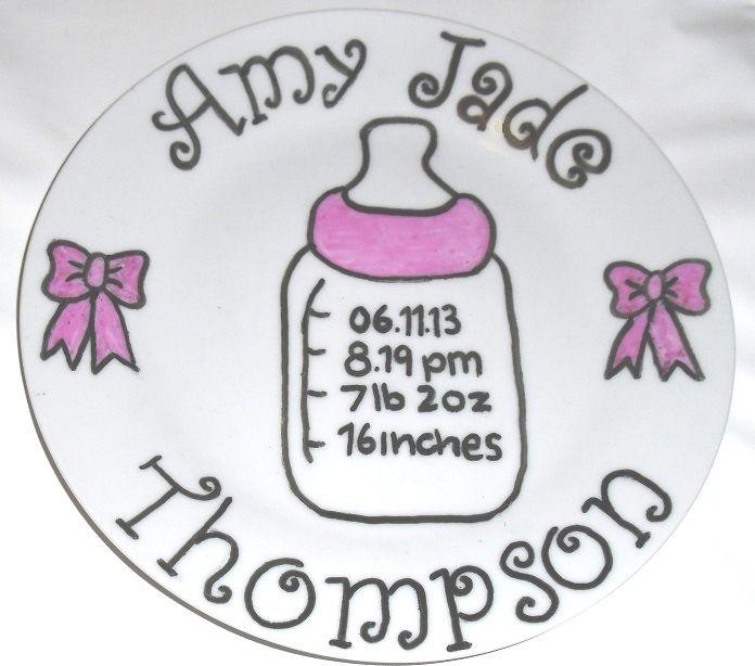 Newborn baby birth plate in pink.   www.facebook.com/sazelgifts