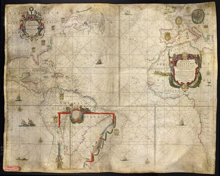 Karte von Amerika, Westafrika und Europa, 1:14 300 000, Kupferstich, 1650 | Weser, Annekathrin (Fotograf), Goos, Pieter, and Blaeu, Joan - Europeana