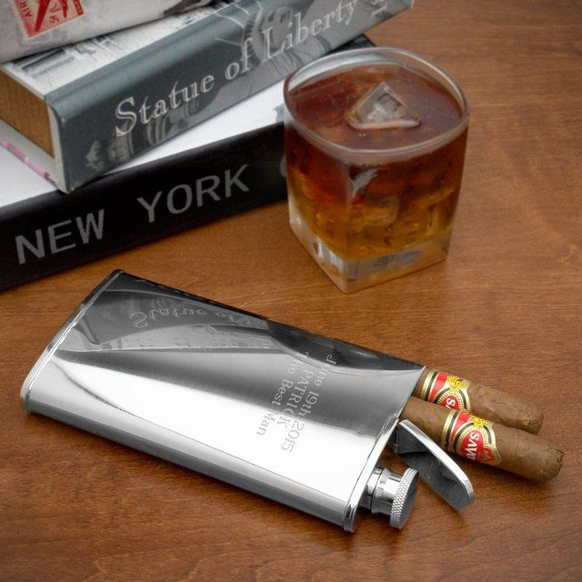Stainless Steel Flask and Cigar Holder by Exclusively Weddings for the best man or groomsmen