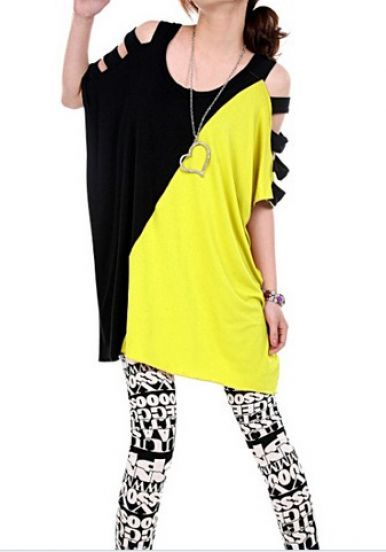 #SheInside Black Yellow Batwing Short Sleeve Hollow T-Shirt - Sheinside.com