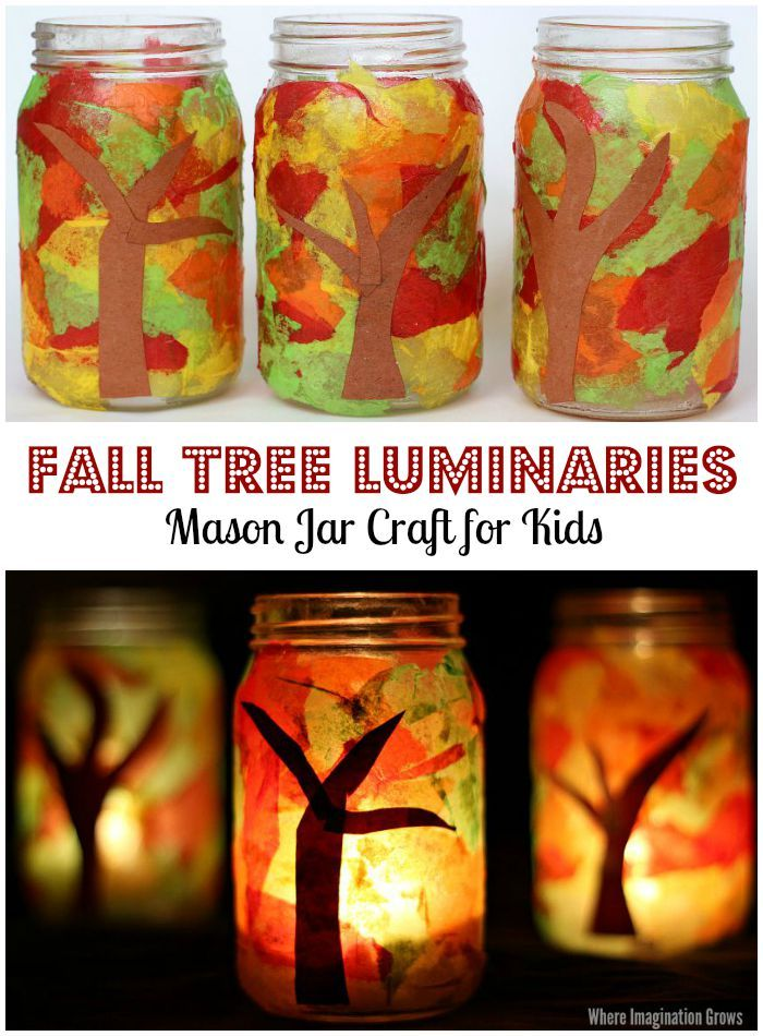 Mason Jar Fall Tree Luminaries Craft for Kids! A simple tissue paper craft that preschoolers will love!