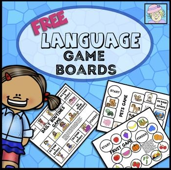 Language Board Games. Grab this set of 10 FREE, one-page language game boards! Just PRINT AND PLAY! Each game covers one of the following topics: fruits, vegetables, foods, school, pets, daily routines, landforms/places, buildings, hobbies, and body parts.