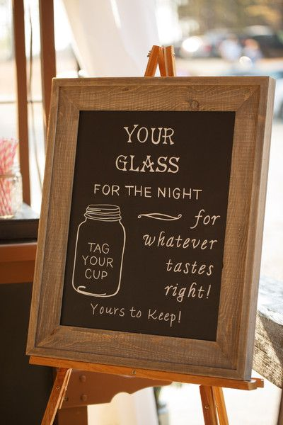 """Your glass for the night, for whatever tastes right!"" Who wouldn't want a mason jar as a wedding favor?! {@jamieblow via @weddingwire}"