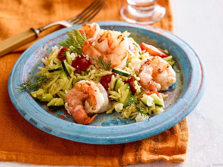 Greek Orzo and Grilled Shrimp Salad with Mustard-Dill Vinaigrette Recipe : Bobby Flay : Food Network