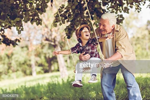 Stock Photo : Playful grandfather