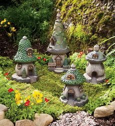 Create a fanciful setting with this set of 4 Gnome Homes and watch for gnomes, elves and fairies.: Garden Ideas, Polyresin Outdoor, Fairy Houses, Garden Gnomes, Gnome Homes, Fairies Garden, Miniature Fairy Gardens, Gnome Garden