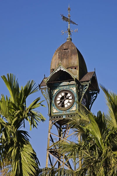 Sittwe, Rakhine State, Myanmar - The old clock tower, complete with weather vane, was erected by the Dutch on a steel structure in the 18th century.