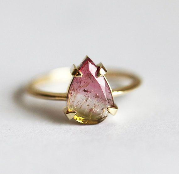Solitaire Watermelon tourmaline Ring Tourmaline Slice by MinimalVS