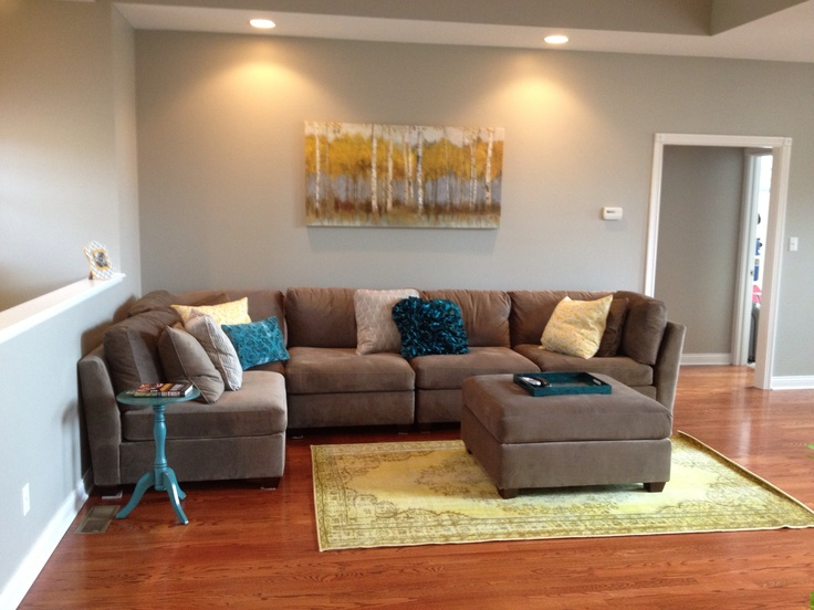 My New Living Room Gray Sectional With Teal And Yellow