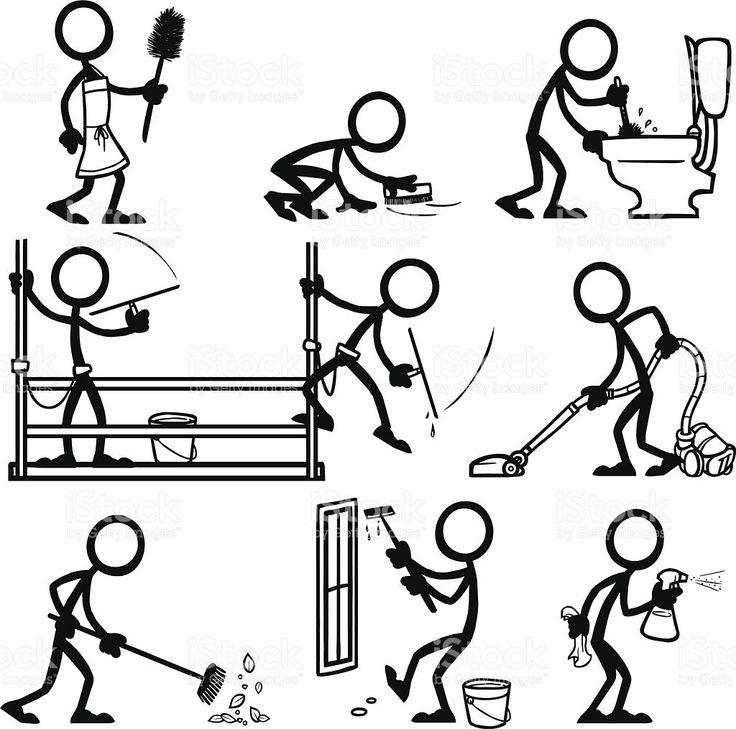Strichmännchen Menschen reinigen Lizenzfreies vektor illustration