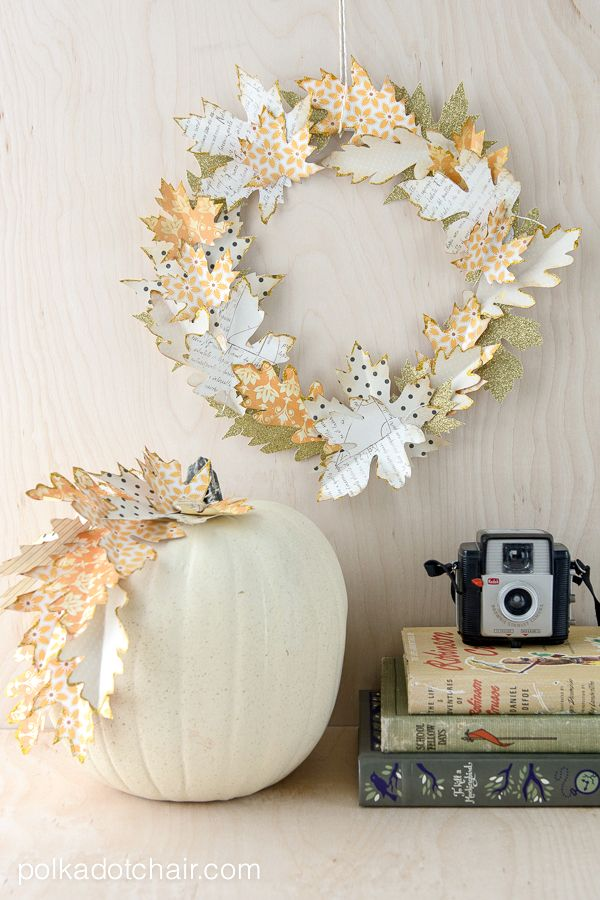Fall craft idea: Use die cut paper leaves to create an Autumn wreath and to decorate pumpkins.