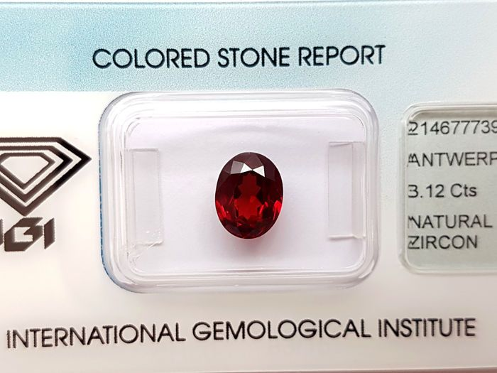 Currently at the #Catawiki auctions: Natural Red #Zircon - 3.12 ct