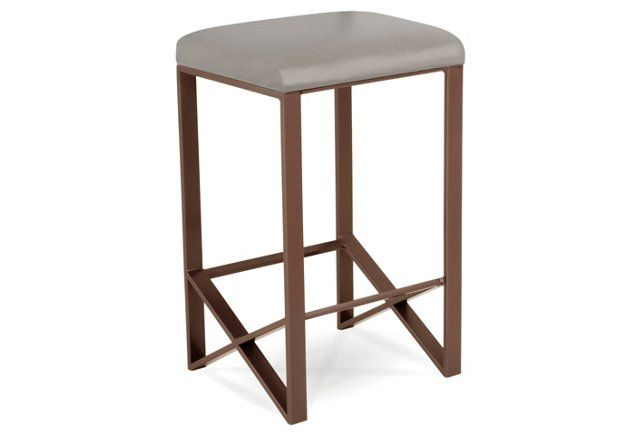 Trinity Leather Counter Stool, Dove