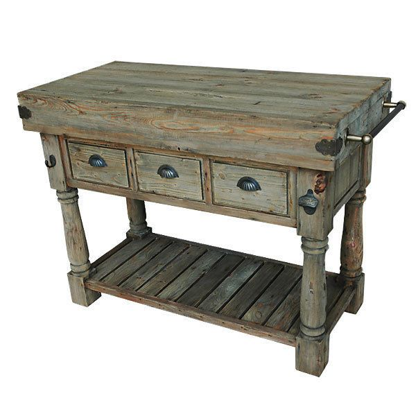 Coastal Butcher Block Kitchen Island Pine Console Table w/ 3 Drawers,47.25''L. #Unbranded