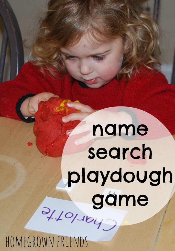 Name Search Playdough Game-  Build name and letter recognition with this easy to create game.  (Homegrown Friends)