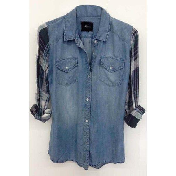 Rails Jackson Plaid Denim Shirt in Denim/Green found on Polyvore featuring women's fashion, tops, plaid top, tartan top, green blue shirt, denim shirt and green denim shirt