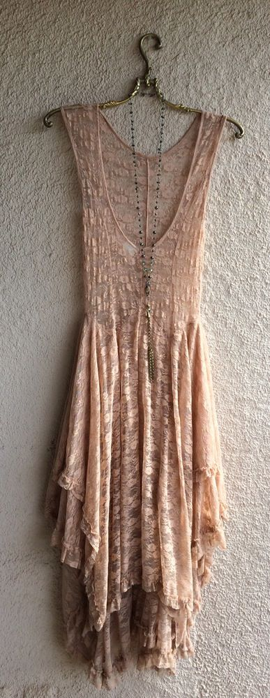 Image of Free People apricot rose ruffle lace gypsy Stevie Nicks maxi dress