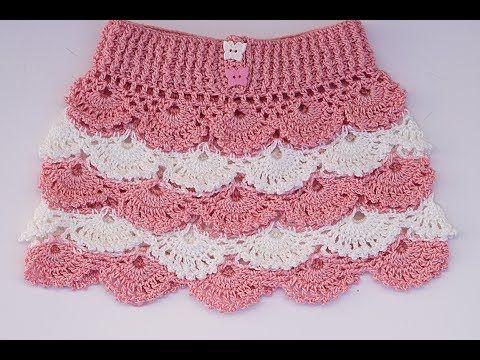 Potholders Crochet - Saia de crochê para menina passo a passo com padrões dentro