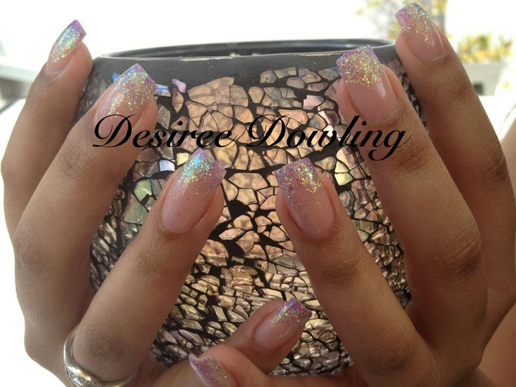 Odyssey Nail Systems Duvet Cover Pink, Diva Techno on the free edge and VIP Blue Hawaiian