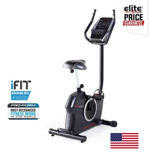 PROFORM 225 CSX EXERCYCLE    NEW 2016 Technology: iFit® Bluetooth® Smart Enabled    20 Workout Apps designed by Certified Personal Trainers    20 Digital SMR™ Resistance Levels     EKG Dual-grip heart RATE monitor    Intermix Acoustics™ 2.0 Sound System
