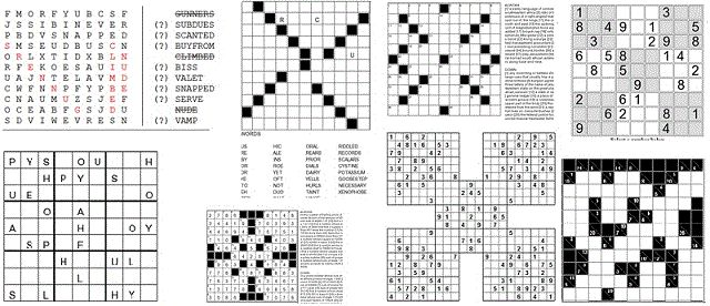 Logic puzzles Grids,Illustrated puzzles,Typing games,Crossword Puzzles