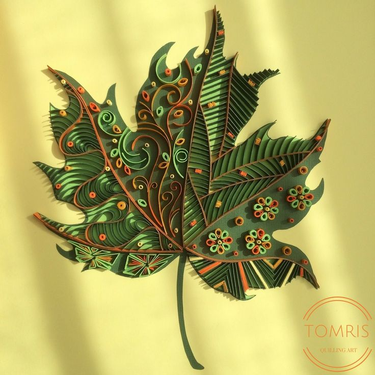 This maple leaf is created with paper strips of 6 different colors and it's inspired by Zentangle Art. It's available on Etsy: https://www.etsy.com/listing/503309811/handmade-framed-wall-art-quilling-wall