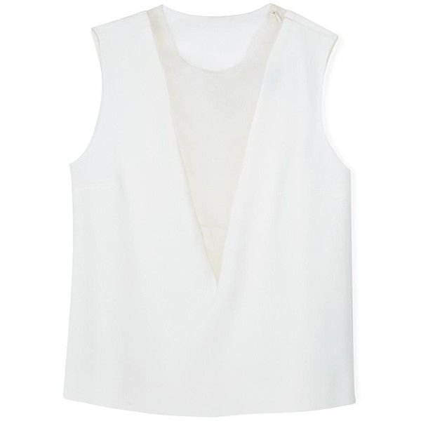 Joseph Sheer Panel Sleeveless Top ($82) ❤ liked on Polyvore featuring tops, off white, plunge top, layering tank tops, sheer tank top, transparent tops and see through tank top