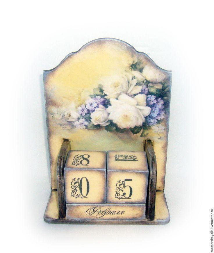 """Купить Вечный календарь """"Букет"""" - календарь, календарь ручной работы, календарь декупаж, календарь настольный"""