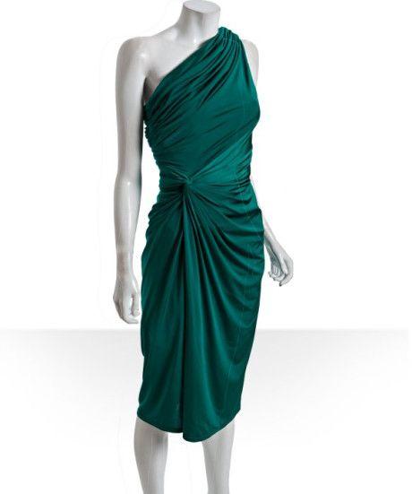 green tadashi   Tadashi Shoji Emerald Jersey Gathered One Shoulder Dress in Green ...
