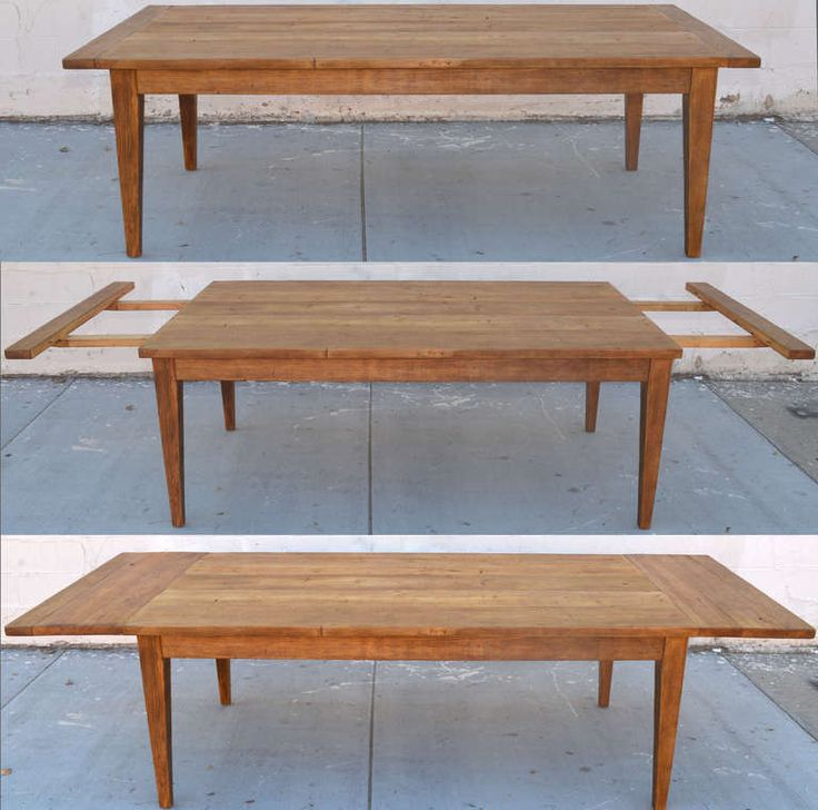 Vintage Pine Harvest Table with Extensions | From a unique collection of antique and modern dining room tables at https://www.1stdibs.com/furniture/tables/dining-room-tables/