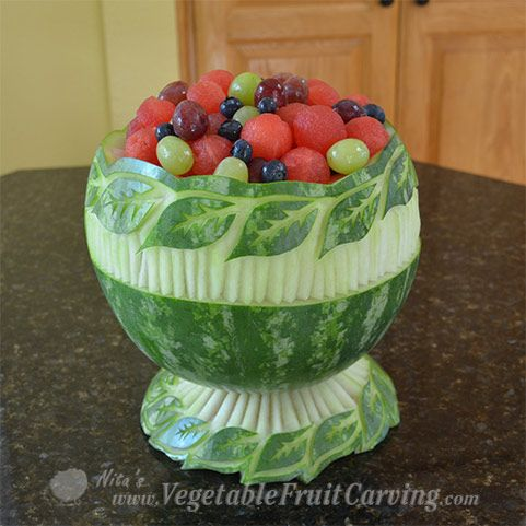 See how Nita Gill made started with a simple leaf pattern watermelon bowl and turned it into to an elegant watermelon bowl with pedestal base.