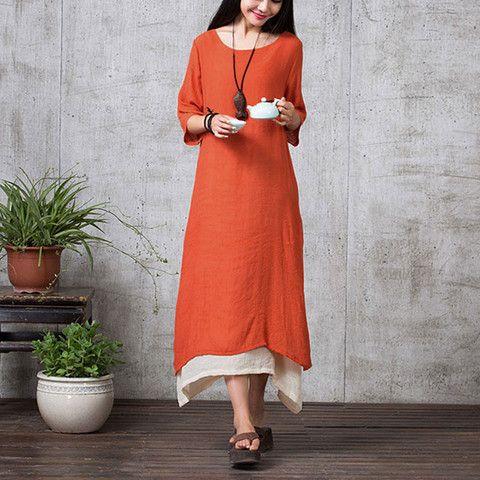 Orange Long Sleeve Maxi Linen Dress