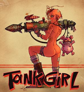 """Meanwhile, on Tank Girl's Facebook page, artist and all-round geezer Brett Parson is breaking all records with more than 5,000 """"Likes"""" in less than 24 hours for this choice, cheeky pic of Tank Girl with her arse out."""