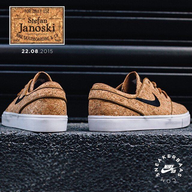 #nike #nikesb #stefanjanoski #cork #sneakerbaas #baasbovenbaas  Nike Sb Stefan Janoski 'Cork'- Another Cork release this year! We can't get enough of this fresh colorway and use of materials.  Release 22.08.2015 at 00:01 AM | Priced at 99.95 EU | Men Sizes 36- 46 EU