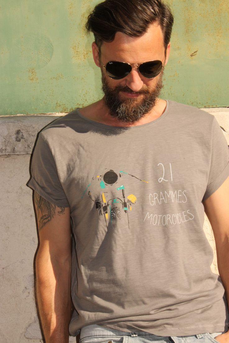 Tee-shirt homme - Guzzi #1 - gris clair - Commande en MP sur notre page FB : https://www.facebook.com/21grammesmotor?ref=hl