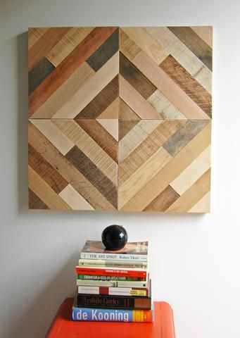 """These 12"""" square wood art panels can be mounted in any direction and can be combined with additional panels to created your own design. Each piece is handmade from reclaimed wood and comes with hangin"""